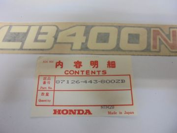 87126-443-800ZB Emblem side cover Honda CB400N