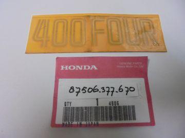 87506-377-670 Emblem side cover Honda CB400F '74 up