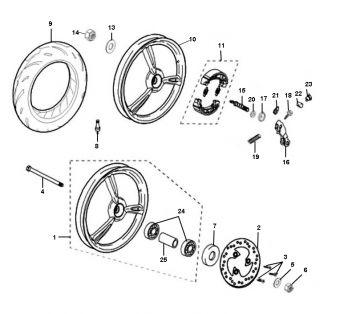 Peugeot Ludix Pro Front Wheel - Rear Wheel