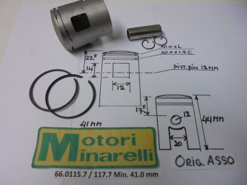62.0115.7 / 117.7 Pist.assy 41.0mm Min.2/3/4 or 6 speed etc.