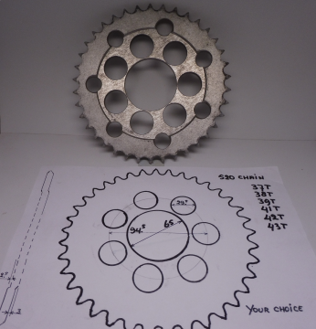 520 Chain rear sprocket universal 37 untill 43 Teeths - or as