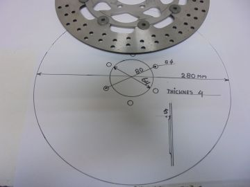Disc, frontwh 280mm unifersal 6 bolts 64-80