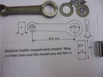 Rod/set crankshaft Italiën 50cc'48 up moped.see sizes