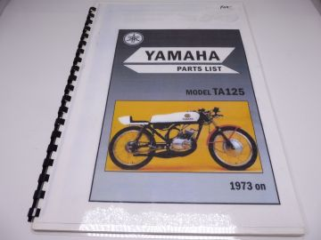 Partsbook TA125 racing guide manual Yamaha racing