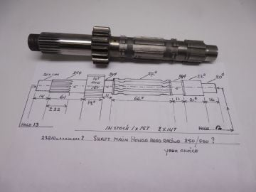 23221-NX5-000 Shaft main 15T racing NS/RS 250 or 500