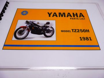 Parts book TZ250 H 1981 Yamaha racing