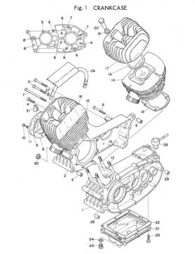 TD2 Cylinder - Crankcase