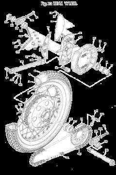 TR3 / TZ350 A-B Rear Wheel