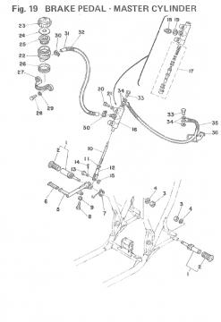 TZ250 F-G / TZ350 F-G Brake Pedal - Master Cylinder