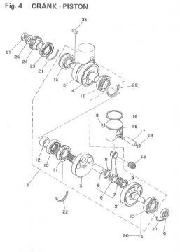 TZ250 F-G / TZ350 F-G Crank - Piston
