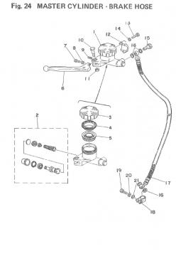TZ250 F-G / TZ350 F-G Master Cylinder - Brake Hose