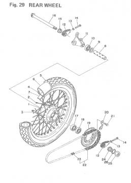 Yamaha TZ250 F-G / TZ350 F-G Rear Wheel