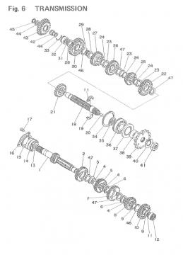 TZ250 F-G / TZ350 F-G Transmission