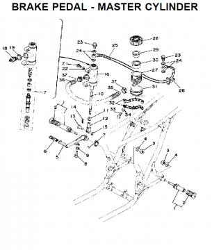 TZ250 C-D-E / TZ350 C-D-E Brake pedal - Master cylinder