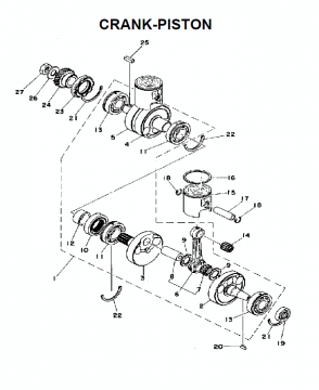 TZ250D / TZ350D Crankshaft - Piston