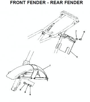 TZ250 C-D-E / TZ350 C-D-E Front fender - Rear fender