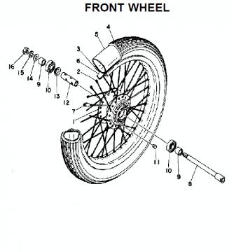 TZ250 C-D-E / TZ350 C-D-E Front wheel
