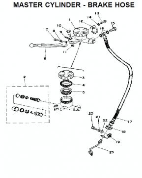 TZ250 C-D-E / TZ350 C-D-E Master cylinder - Brake hose