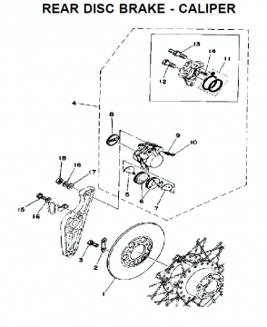 Yamaha TZ250 C-D-E / TZ350 C-D-E Rear disc brake - caliper