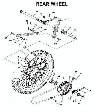 Yamaha TZ250 C-D-E / TZ350 C-D-E Rear Wheel