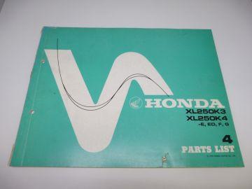 New partbook Honda XL250 K3 - K4